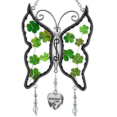 Shamrock Faith Hope Love Butterfly Suncatchers Irish Celtic Suncatchers Art Glass Suncatchrs St Patrick's Day Decoration, Irish Gift in-Law Gift, Irish Family Shamrock Gift