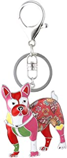 Marte&Joven Boston Terrier Keychain for Women Dog Lover Unique Enamel Dog Jewelry Gift