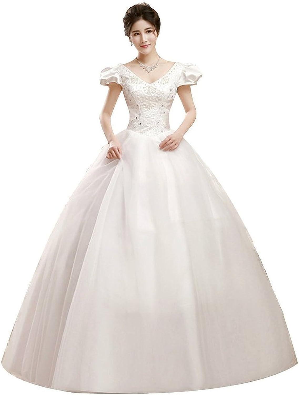 Shanghai Story Double Shoulder V Neck Floor Length Bridal Gown Wedding Dress