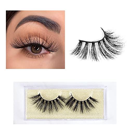 3D Mink Lashes, 22mm Long Cluster Layering Siberian Mink Fur Eyelashes, Soft Natural Looking Fake Eyelashes,100% Cruelty Free Makeup Reusable Luxury Strips Eyelashes, 1 Pair, Handmade By Havoo