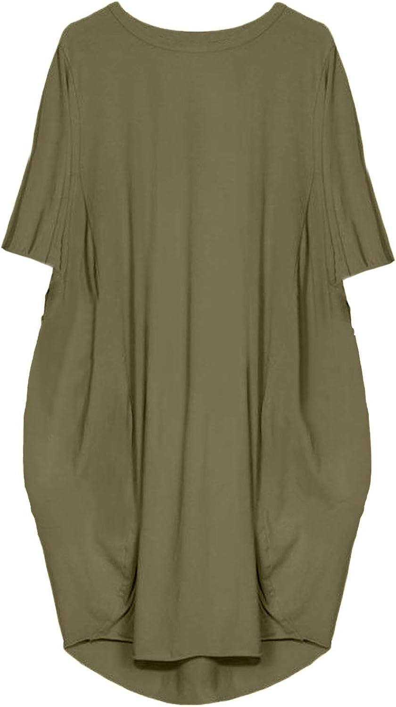 Kidsform Women Mini T-Shirt Dress Self-tie Half Sleeves Solid Crew Neck Tunics Summer Shift Dresses