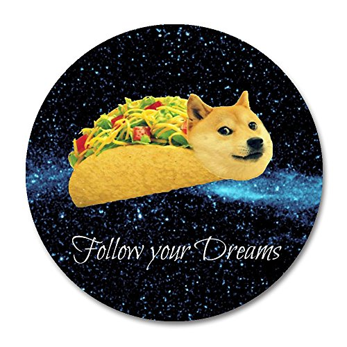 Doge Mouse Pad by Smooffly,Doge in Taco Chicken Rolls Flying Across The Galaxy Space Fllow Your Dream Amusing Round Mouse Pad