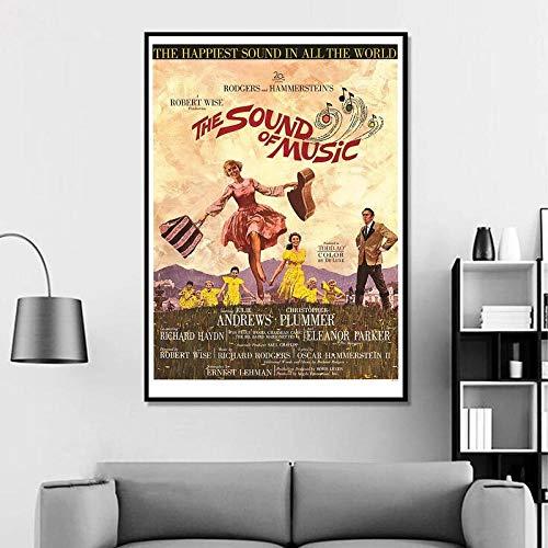 Sound of Music Vintage Classic Movie Poster Decoración para el hogar Decoración de la Pared Arte de la Pared Pintura de la Lona Impresión de la lona-60x80cm Rollo de Lona