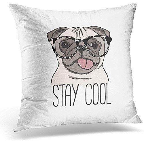 Niet toepasbare kussenslopen, kleurrijke tekening, mops, hond in glazen dieren, zachte comfortabele kussenslopen voor comfort en comfort op reis.