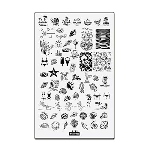 1Pcs Ocean Series Stamping Plates 14.5×9.5cm Stainless Steel Summer Mermaid Shell Pattern Stamping Stencil Letter Nail Art Plates Various Cute Sea Animal Template Image