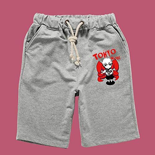 Tokyo Ghoul Anime Shorts Kurze Hose Hosen Jogging Herren Kurz Sport Sommer Sport Baumwolle Pants Short Men Mit Taschen S Grau