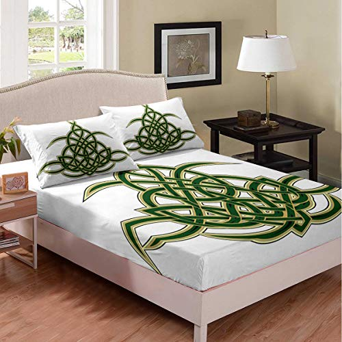 Erosebridal Celtic Knot Fitted Sheet Elegant Celtic Lines Bedding Set for Kids Boys Girls Woven Pattern Sheet Set Green Abstract Art Bed Cover Ultra Soft Decorative Room with 1 Pillow Case Twin Size