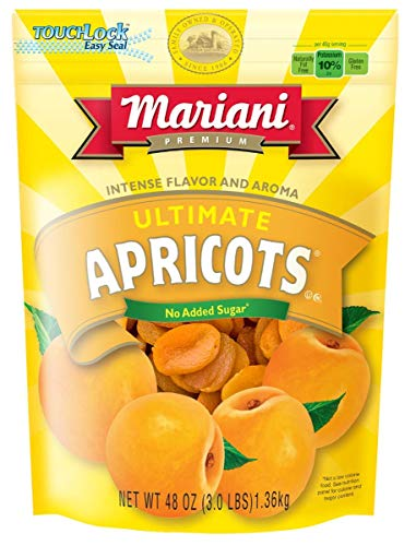 Mariani Ultimate Dried Apricots - 48oz (Pack of 1) – Intense Flavor and Aroma, No Sugar Added, Gluten Free, Vegan, Fat Free, Non-GMO, Resealable Bag - Healthy Snack for Kids & Adults