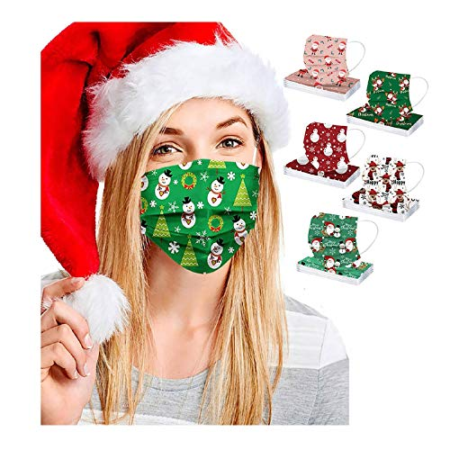 50pcs FDẴ Certified Disposable Face Mask Industriаl 3 Layer Filtеr for Coronàvịrụs Protectịon Christmas Printed Breathable Face Masks (Multicolor A)