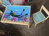 MakeThisMine Ikea LATT - Juego de mesa para niños y 1 silla personalizable, con nombre de Ikea Latt; para buceo, playa, vacaciones, playa, escritorio, para niños, niñas