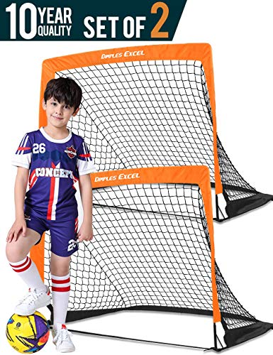 DIMPLES EXCEL Portable Soccer Goal with Fiber Glass Pole, Instant Set-Up, Easy Fold-Up, 4'x3'x3', Set of 2 (Orange/Black Edge)