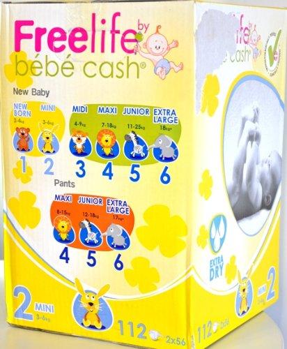 Windelhosen Mini 3-6 kg, BébéCashFreelife Grösse 2, 2x56 Stück, Unisex-Babywindeln