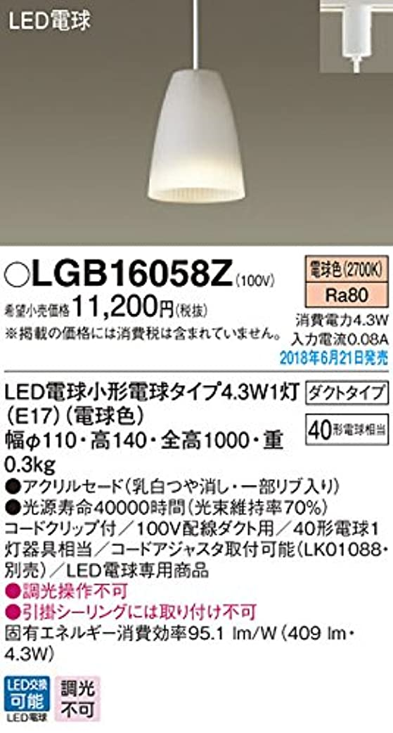 何脚本家北米パナソニック 小型ペンダントライト LGB16058Z ダクト用 奥行11×高さ14×幅11cm