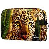 Bolso cosmético del Maquillaje Cabeza de Leopardo Ojos firmes Bolsa de Viaje organizadora de Neceser Maquillaje Gran Capacidad para señoras perezosas 18.5x7.5x13cm