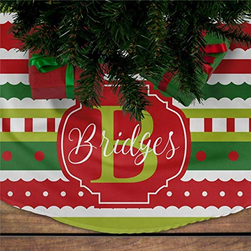 DONL9BAUER Personalized Christmas Tree Skirt Scallop Stripe Pattern Tree Apron Large Rustic Ornament Xmas Tree Skirts for Holiday Party Christmas Decorations Indoor Outdoor 75cm