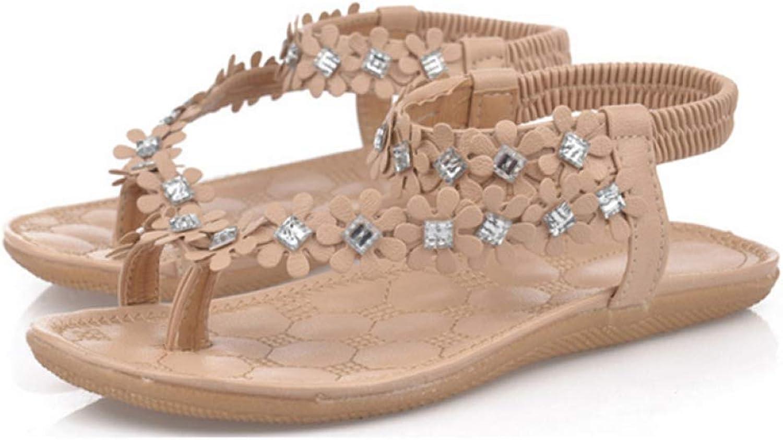 Summer Women Fashion Bohemian Floral Sandalias Crystal Rhinestone Back Strap Sandal Female Casual Flats shoes