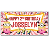 Despicable Me Minions Pink with Confetti Birthday Banner Personalized Party Decoration Backdrop