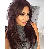 BECUS Brown peluca recta larga de 22 pulgadas con flequillo parte libre esponjosa de aspecto natural alta temperatura sintético pelucas completas para mujeres con peluca neto Cap