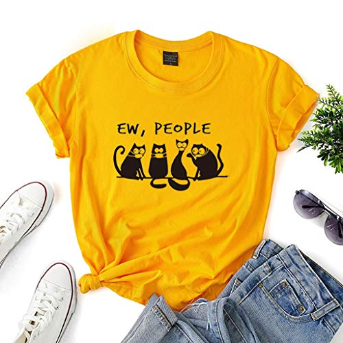 LXHcool Coron_avirus I Survived Black Cat Mask Ew People T-Shirt Gift Tee for Women (Color : Yellow, Size : L)