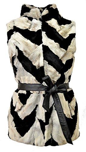 DX-Exclusive wear Damen Weste Fellweste Kaninchen, Lederweste, Gilet, schwarz Fell KK-0024 (34)