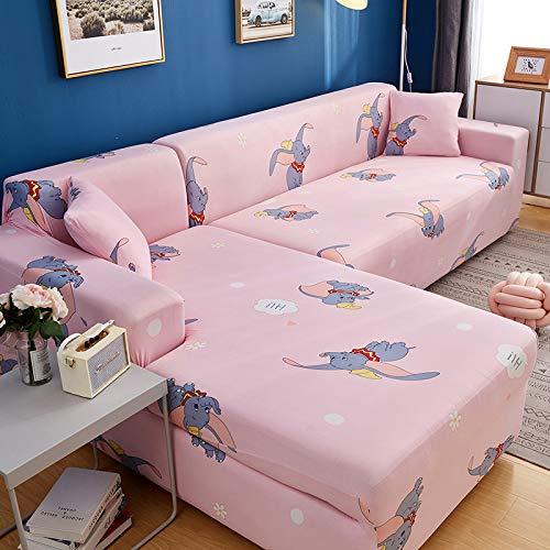 Ensemble housse universelle élastique universelle (simple + trois + trois) ensemble canapé-lit éléphant volant rose,Housses De Canapé Elastiques en Forme De L, Couverture De Canapé d'angle Convertibl