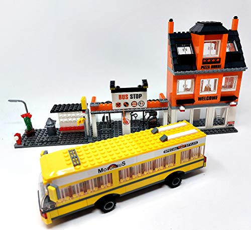 Brigamo Bloques de construcción, autobús, estación de apoyo con pizzeria, 546 bloques de construcción de juguete