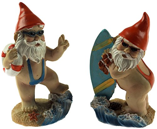 Set von 2 mini 8 cm hoch Mankini Gnome Figuren – Home/Garten