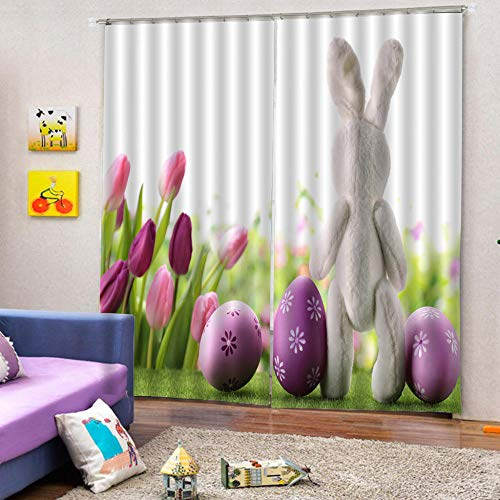 zpangg Black Out Window Cover Cute Rabbit Doll Blackout For Children Bedroom Eyelet Thermal Insulated Room Darkening Curtains For Nursery Living Room Bedroom 220×215Cm
