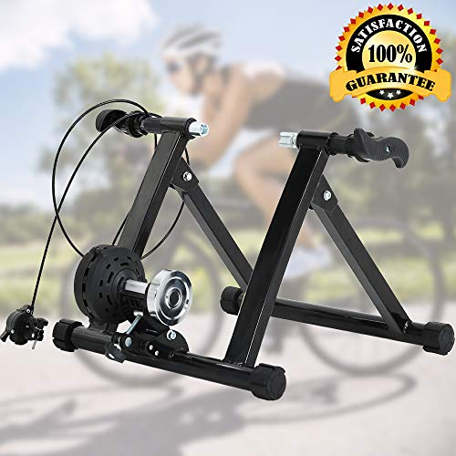 """Bike Trainer Stand Bicycle Trainer Stand Bike Exercise Stand Indoor&Outdoor Road&Mountain Bike Trainer Stand for 26-28"""" Or 700c Wheel Magnetic Bike Trainer with 5 Levels Resistance (Black)"""