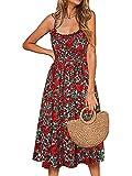 ABINGOO Vestido Casual Mujer Vestido de Cóctel Partido Fiesta Playa A-Line Midi Vestidos con Bolsillo Botones,Rosa,L
