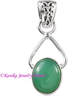 Green Jade Pendant, 925 Sterling Silver Pendants for Womens, Oval Gemstone Pendants, Handmade May Birthstone Pendants, Drop Pendant