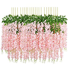 Hauswahl 24 Pack (80FT) Artificial Wisteria Vine Ratta Fake Wisteria Hanging Garland Silk Long Hanging Bush Flowers String Home Party Wedding Décor