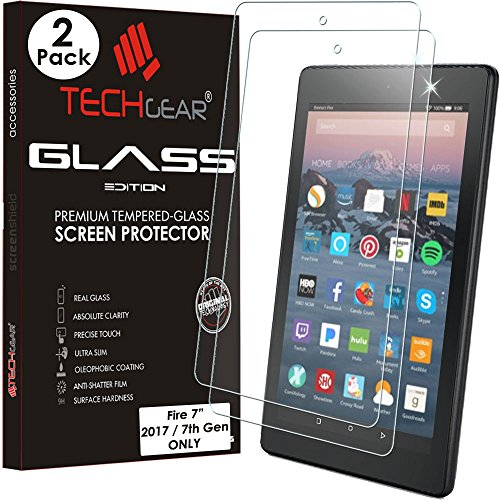 TECHGEAR [2 Piezas] Vidrio Compatible con Amazon Fire 7' Alexa Tablet (2017) - Auténtica Protector de Pantalla Vidro Templado (No para Amazon Fire 7' 2015)