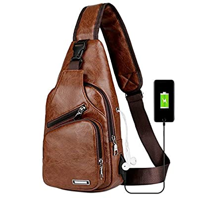 Men's Sling Bag Vintage Leather Chest Shoulder Crossbody Purse with USB Charging Port for Hiking Cycling Camping Daypacks