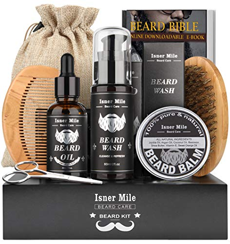 Upgraded Beard Care Kit for Men Beard Growth Grooming & Trimming with Beard Shampoo Wash, Beard Oil Conditioner, Christmas Ornaments, Balm Wax, Brush, Comb, Scissors, Perfect Xmas Gifts for Him Dad
