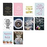 VISUAL STATEMENTS Postkartenset; mit 20 Postkarten, Glücksbringer - Karten mit verschiedenen Sprüchen; schöne Spruchkarten im Set; hübsche Motivkarten - Postkarten in XXL – eine schöne Geschenkidee