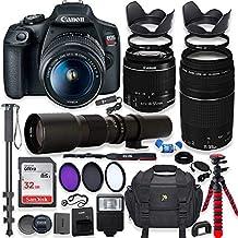 Canon EOS Rebel T7 DSLR Cámara con 0.709-2.165in es II Lente Bundle + Canon EF 2.953-11.811in f/4-5.6 III Lente y 19.685in Preet + 32 GB de memoria + Filtros + Monopod + Spider Flex Trípode + Professional Bundle