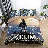 Juego de Ropa de Cama Reversible The Legend of Zelda Hipoalergénica 100% Microfibra con Cremallera (1 Funda nórdica y 2 Fundas de Almohada),Twin