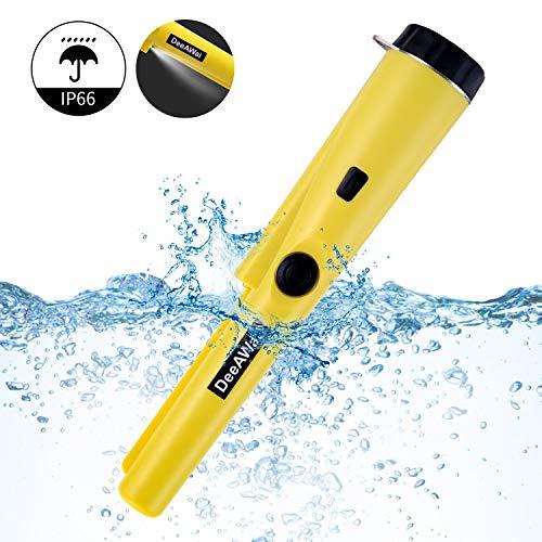 DeeAWai Pinpointer Metalldetektor IP66 Wasserdicht Hand Metallsuchgerät 360°Scan mit LED Blitz Gürtelholster für hohe Empfindliche Detektion