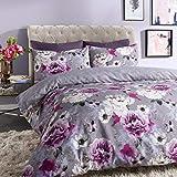 Sleepdown - Copripiumino Reversibile con Motivo Floreale, Colore: Blu, Cotone Poliestere, Grigio, Super King
