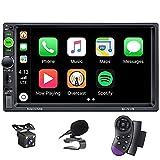 X-REAKO radio de coche 2 DIN Car Stereo de 7 Pulgadas HD Pantalla Táctil Bluetooth Manos Libres Radio Auto FM / USB/AUX IN Mirror Link con cámara de visión Trasera