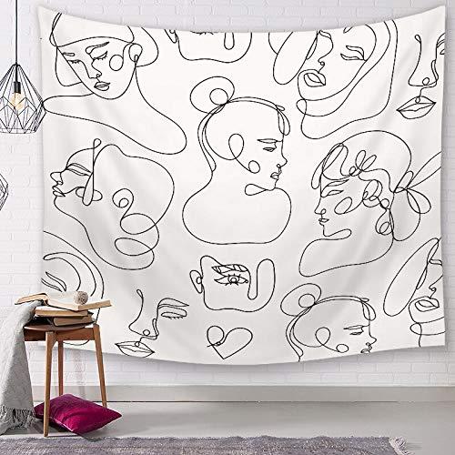 KHKJ Estilo Abstracto Colgante de Pared Retrato Estampado Tapiz decoración del hogar Sala de Estar Alfombra decoración Manta A9 95x73cm