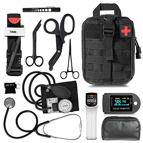 ASA Techmed Tactical Black First Responder Triage Kit Molle Military Style EMT Medical Pouch (Deluxe)