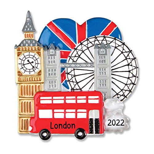 Personalized London England Christmas Tree Ornament 2020 - Big Ben Eye Wheel Thames River Double Decker City Bus Heart Flag Holiday 1st Travel Tourist Love First Visit Year - Free Customization