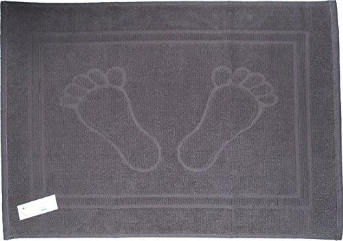 Unbekannt Duschvorleger, Badematte, Frottee, Frottier, 50 x 70 cm, Uni einfarbig, Badvorleger, 100% Baumwolle (grau-Füße)