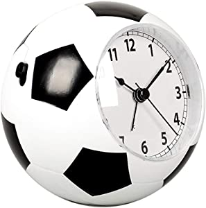 Reloj Despertador para niños Forma de fútbol Reloj Mudo Reloj de cabecera Reloj Despertador Simple Dos Tonos de Llamada Interruptor Silencio Inocente (Color : White, tamaño : 11.5 * 11 * 7.3cm)