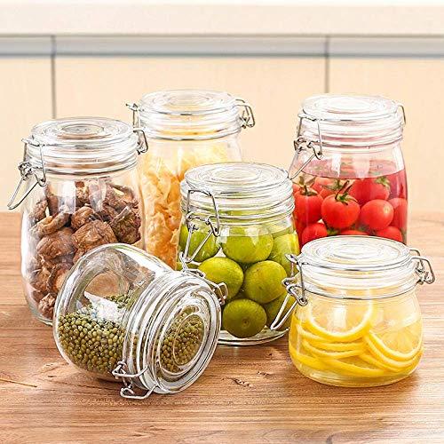 NOSSON 6-Piece Round Glass Sealed Jar, Lemon Honey Jar, Kitchen Grain Storage Jar, Tea Storage Jar Tea Sets Gifts