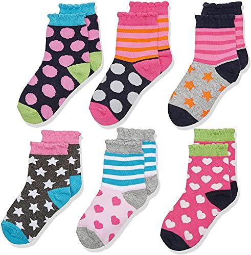 Jefferies Socks Socken für kleine Mädchen mit Punkten, Herzen, Streifen, modisch, 6 Paar - - Medium