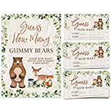 Gummy Bear Candy Guessing Game, 50 Cards and Matching Sign, Woodland Forest Animals Theme, Birthday Party Idea, Baby Shower Activity
