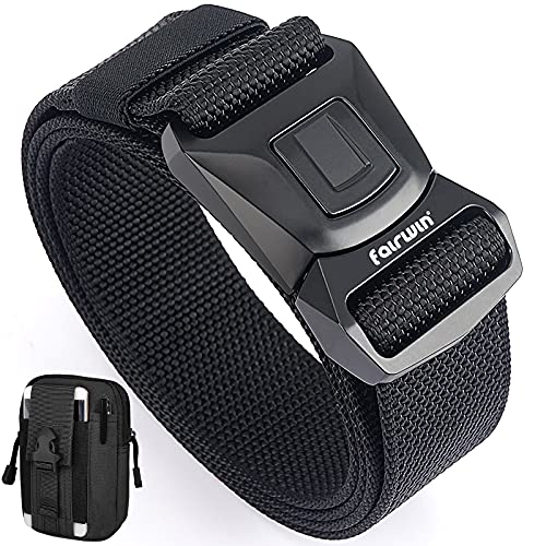 Fairwin Tactical Belts for Men Work Belt New Quick-Release Buckle Military Belt with Molle Pouch
